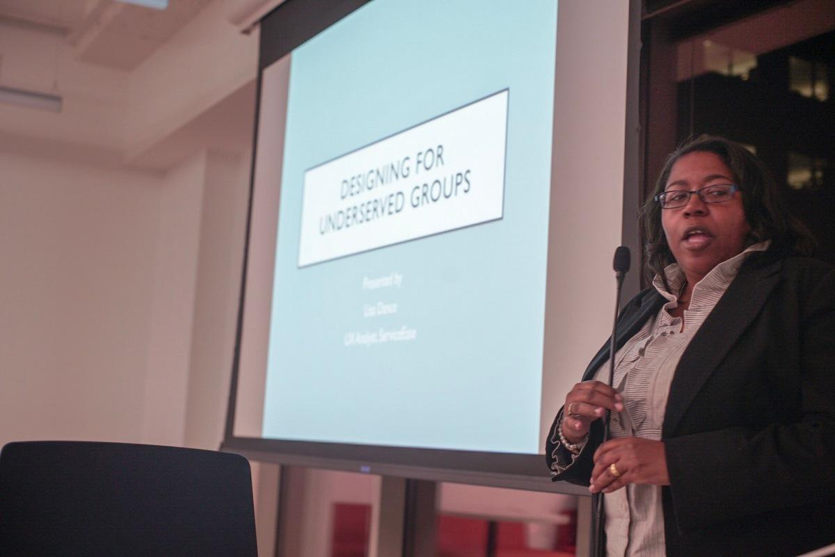 Lisa Dance presenting a Design Lightning Talk in 2019.